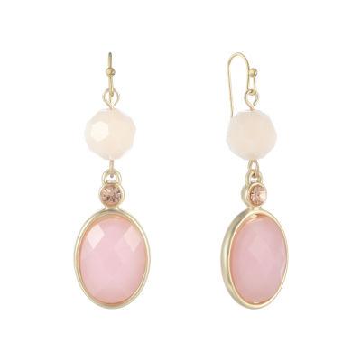 Liz Claiborne Pink Oval Drop Earrings