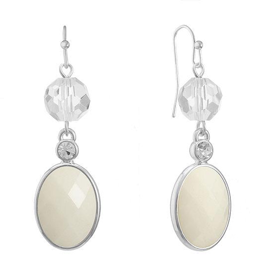 Liz Claiborne White Oval Drop Earrings