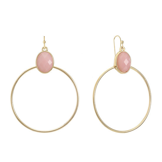 Liz Claiborne Pink 63.5mm Oval Hoop Earrings