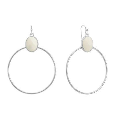 Liz Claiborne White 63.5mm Oval Hoop Earrings