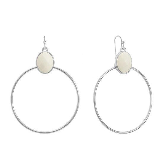 Liz Claiborne White Oval Hoop Earrings