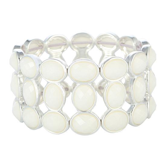 Liz Claiborne White Oval Stretch Bracelet