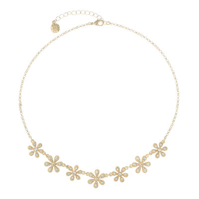 Monet Jewelry Womens Clear Flower Collar Necklace