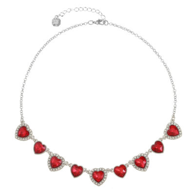 Monet Jewelry Womens Red Heart Collar Necklace