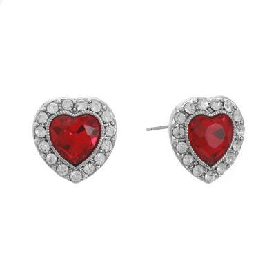 Monet Jewelry Red 15mm Heart Stud Earrings