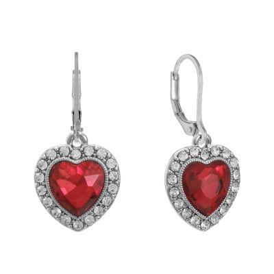 Monet Jewelry Red Heart Drop Earrings