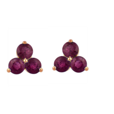 Lead Glass-Filled Red Ruby 10K Rose Gold 7.5mm Stud Earrings