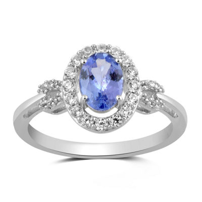Womens Genuine Blue Tanzanite Sterling Silver Cocktail Ring
