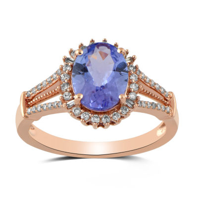 Womens 1/4 CT. T.W. Genuine Blue Tanzanite 10K Rose Gold Cocktail Ring