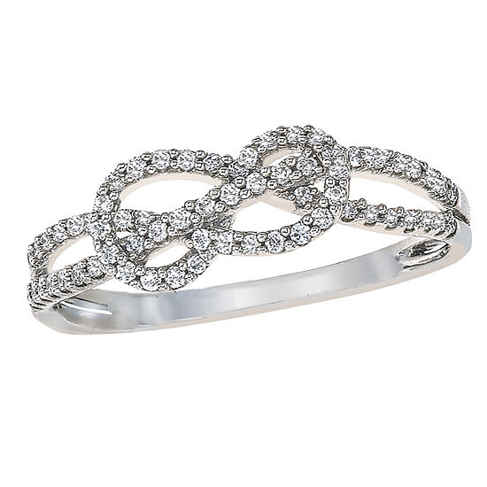 Womens 1/5 CT. T.W. Genuine White Diamond 10K White Gold Infinity Cocktail Ring