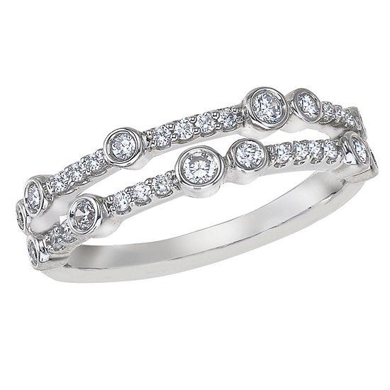 Womens 3/8 CT. T.W. Genuine White Diamond 10K White Gold Cocktail Ring