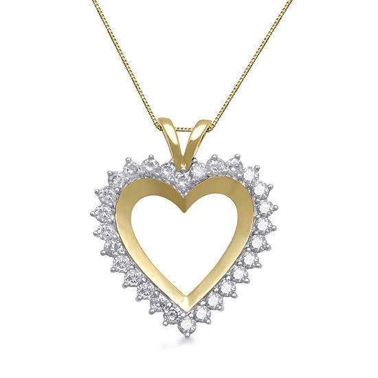 1 CT. T.W. Genuine Diamond 10K Yellow Gold Heart Pendant Necklace