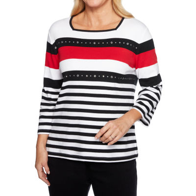 Alfred Dunner Grand Boulevard-Womens Square Neck 3/4 Sleeve T-Shirt