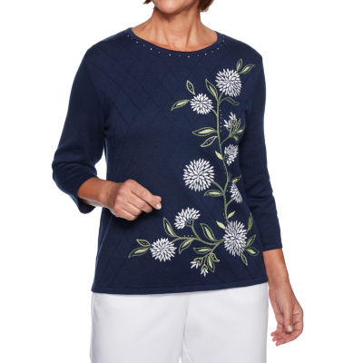 Alfred Dunner Greenwich Hills Crew Neck 3/4 Sleeve Floral Pullover Sweater