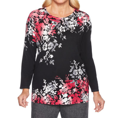 Alfred Dunner Finishing Touch Womens Crew Neck 3/4 Sleeve Floral Pullover Sweater