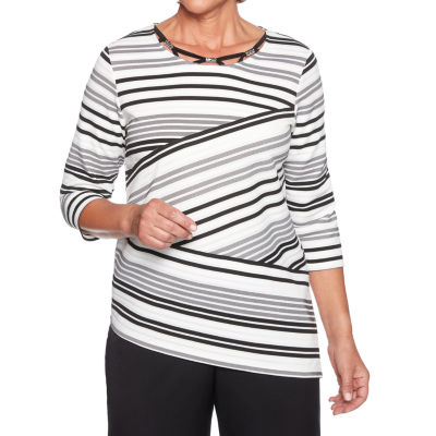 Alfred Dunner Finishing Touch 3/4 Sleeve Crew Neck Stripe T-Shirt-Womens