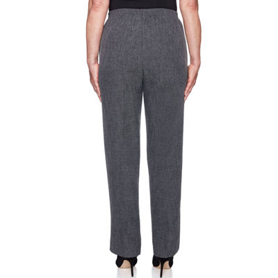 Alfred Dunner Finishing Touch Womens High Waisted Straight Flat Front Pant