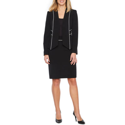 Black Label by Evan-Picone Long Sleeve Piped Trim Suit Jacket or Piped Trim Suit Skirt