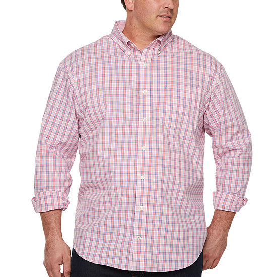 IZOD Mens Long Sleeve Button-Front Shirt Big and Tall