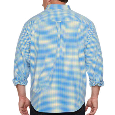 IZOD Mens Long Sleeve Gingham Button-Front Shirt-Big and Tall