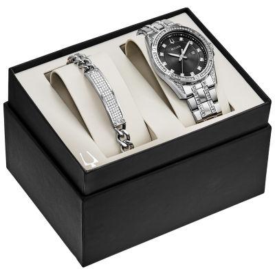 Bulova Mens Silver Tone Watch Boxed Set-96k105