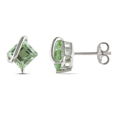 Genuine Green Amethyst Sterling Silver 9.8mm Stud Earrings