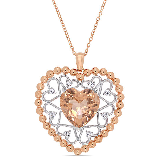 Womens Simulated Pink Morganite 18K Gold Over Silver Heart Pendant Necklace