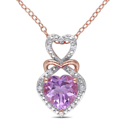 Womens Diamond Accent Genuine Purple Amethyst Pendant Necklace