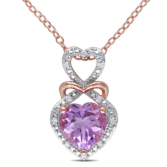 Womens Diamond Accent Genuine Purple Amethyst 18K Gold Over Silver Pendant Necklace