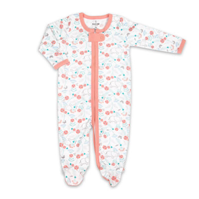 The Peanut Shell Floral Elephant Footie Sleep and Play - Baby