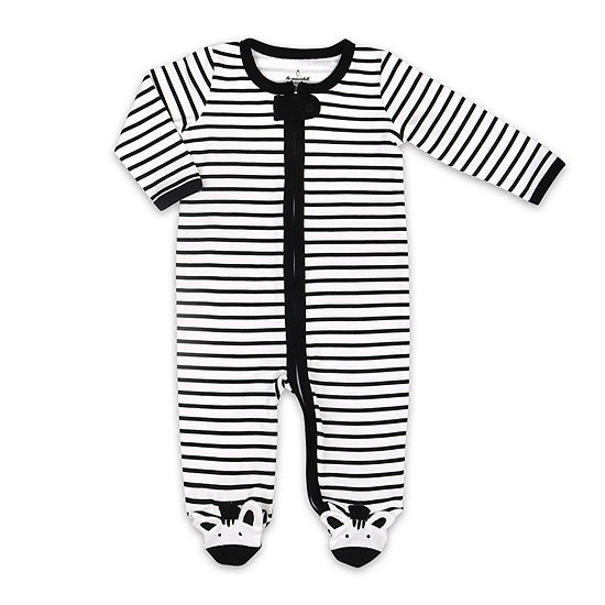 The Peanut Shell Zebra Footie Girls Sleep and Play - Baby