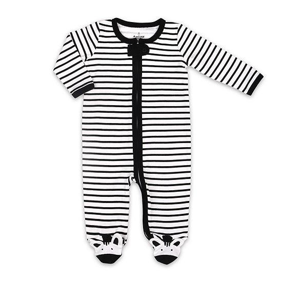 The Peanut Shell Zebra Footie Baby Girls Sleep and Play