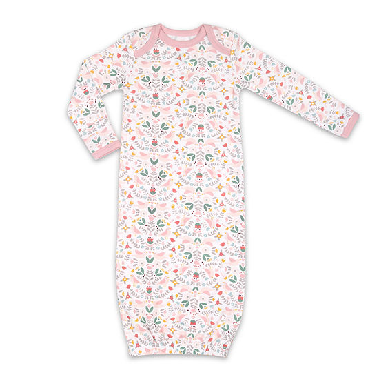 The Peanut Shell Birds And Floral Sleep Gown Girls Knit Nightgown Long Sleeve Round Neck
