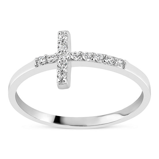 DiamonArt® 3MM 1/5 CT. T.W. White Cubic Zirconia Sterling Silver Cross Band