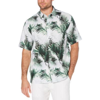 Cubavera Mens Short Sleeve Pattern Button-Front Shirt