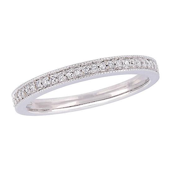 Womens 2.5MM 1/8 CT. T.W. Genuine White Diamond 14K White Gold Band