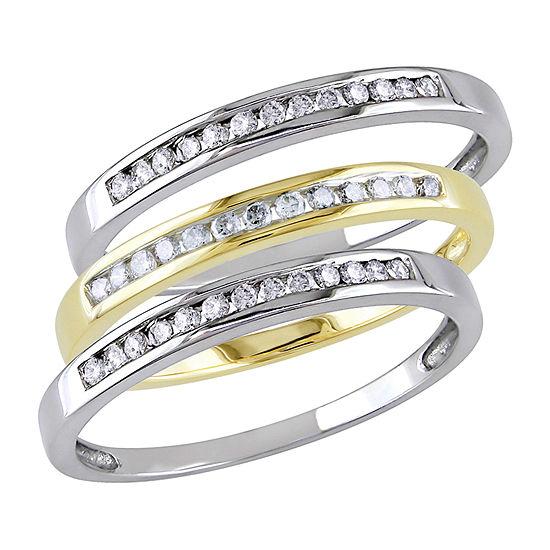 Womens 5MM 3/8 CT. T.W. Genuine White Diamond 10K Tri-Color Gold Band