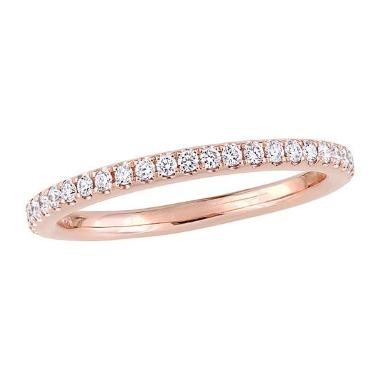 Womens 2MM 1/3 CT. T.W. Genuine White Diamond 14K Rose Gold Wedding Band