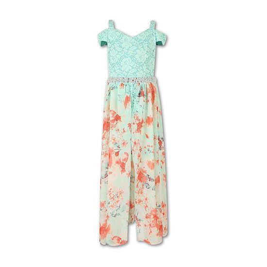 Speechless Embellished Cold Shoulder Walk-Through Maxi Dress - Girls 7-16