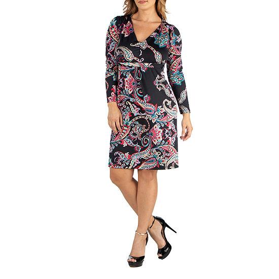 24/7 Comfort Apparel Long Sleeve V-Neck Paisley Dress - Plus