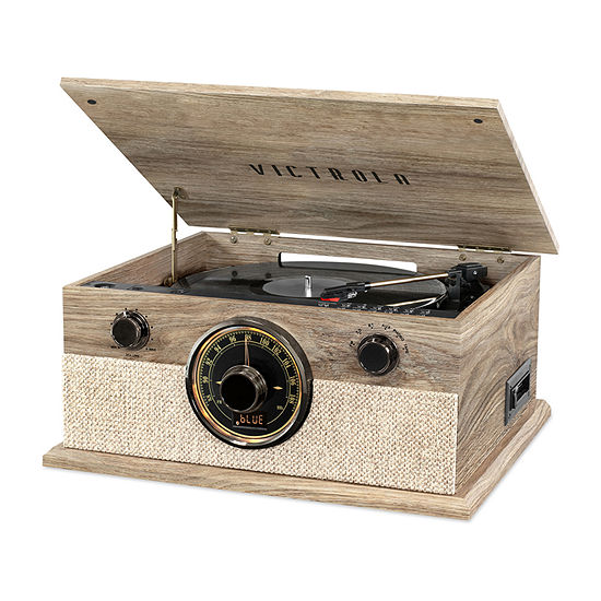 Victrola VTA-247B-FOT 6-in-1 Brookline Bluetooth Record Player with 3-Speed Turntable, CD, Cassette Player and AM/FM Radio