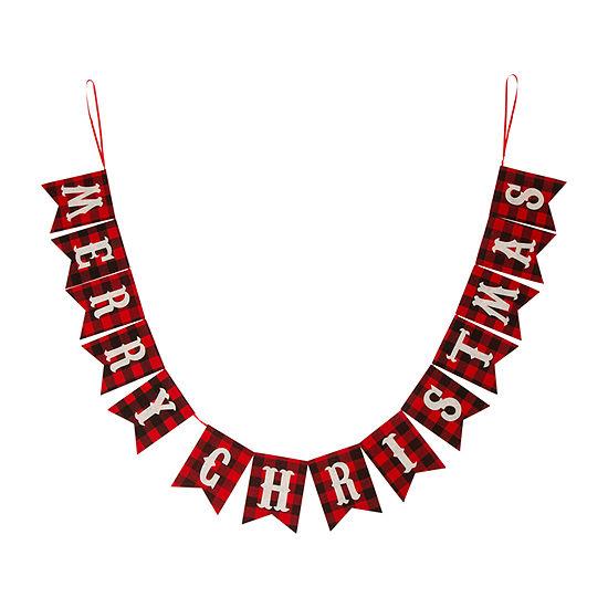 "Glitzhome Plaid ""Merry Christmas"" Banner Garland"