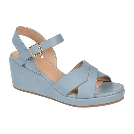 1940s Style Shoes, 40s Shoes, Heels, Boots Journee Collection Womens Kirstie Pumps Wedge Heel 8 Medium Blue $52.49 AT vintagedancer.com