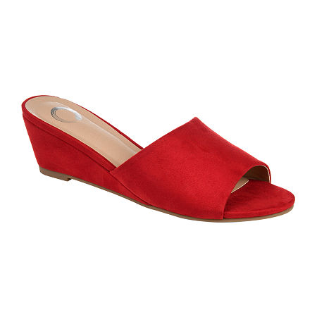 Rockabilly Shoes- Heels, Pumps, Boots, Flats Journee Collection Womens Pavan Open Toe Slip-On Shoe 7 Medium Red $52.49 AT vintagedancer.com
