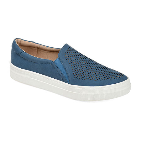 Journee Collection Womens Faybia Round Toe Slip-On Shoe, 7 Medium, Blue