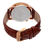 August Steiner Mens Brown Leather Strap Watch-As-8010rgbr