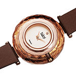 Burgi Womens Diamond Accent Crystal Accent Brown Leather Strap Watch-B-252br