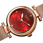 Burgi Womens Diamond Accent Crystal Accent Rose Goldtone Stainless Steel Bracelet Watch-B-260rgr