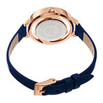 Burgi Womens Diamond Accent Crystal Accent Blue Leather Bracelet Watch-B-261bu