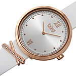 Burgi Womens Crystal Accent White Leather Strap Watch-B-264wt